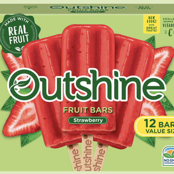 A box of Outshine strawberry popsicles